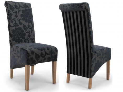2x Baroque Charcoal Velvet Roll Back Dining Chairs (Pair)