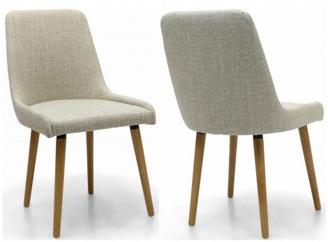2x Capri Natural Linen Fabric Dining Chairs (Pair)