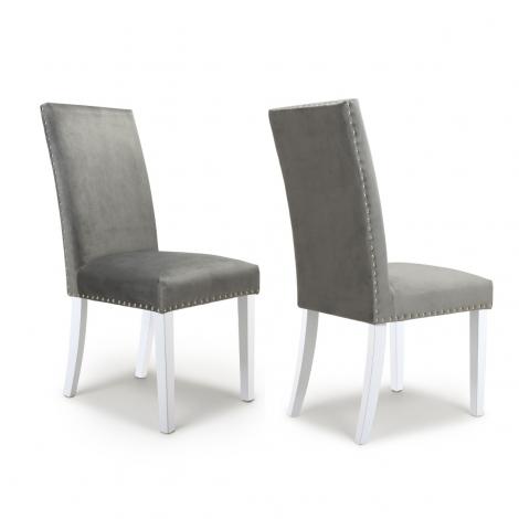 2x Randall Studded Detail Brushed Velvet Grey Dining Chair With White Legs