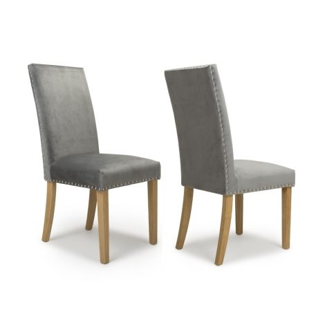 2x Randall Studded Detail Brushed Velvet Grey Dining Chair With Natural Legs