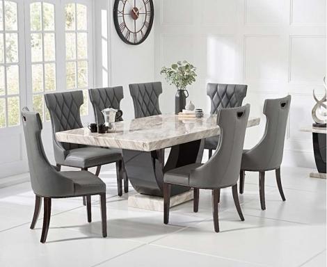 Rivilino 200cm Cream Marble Dining Table & Fredo Chairs