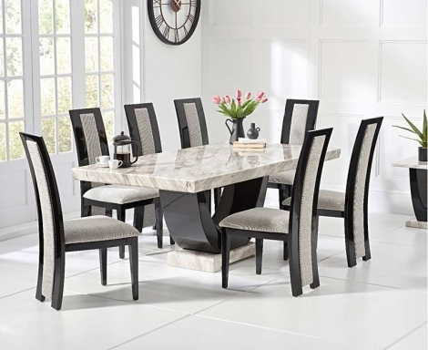 Rivilino 200cm Cream Marble Dining Table & Chairs