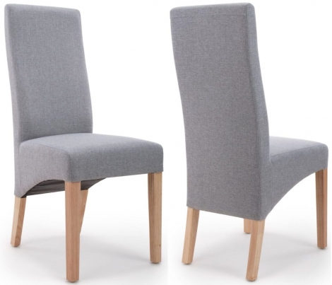 2x Baxter Wave Back Silver Grey Linen Dining Chairs (Pair)