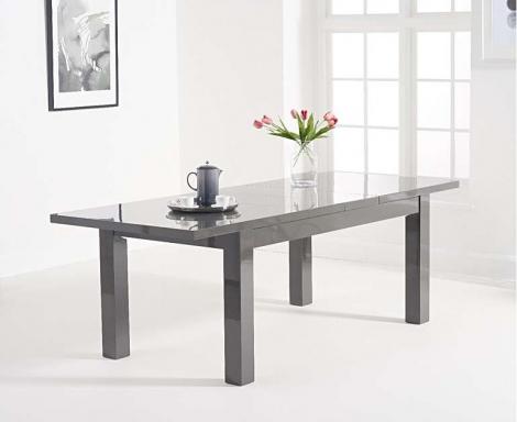 Ava 160cm - 220cm Extending Dark Grey High Gloss Table
