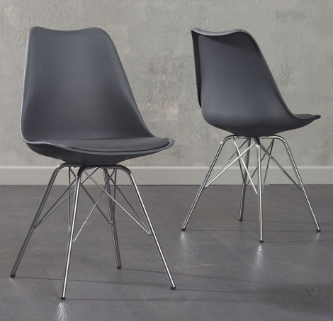 2x Calabasus Dark Grey Faux Leather Dining Chair with Chrome Legs (Pair)