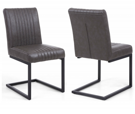2x Cantilever Grey Faux Leather Industrial Style Dining Chair (Pair)