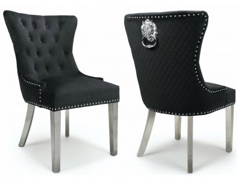 2x Lion Head, Brushed Black Velvet, Knocker Back Dining / Accent Chairs, Chrome Legs, Pair