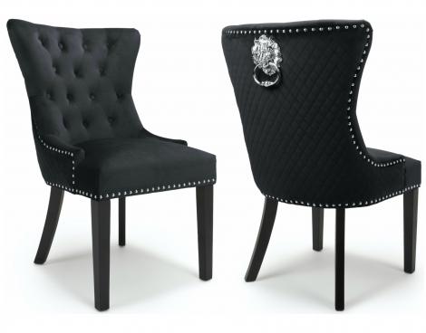 2x Lion Head, Brushed Black Velvet, Knocker Back Dining / Accent Chairs, Black Wooden Legs, Pair