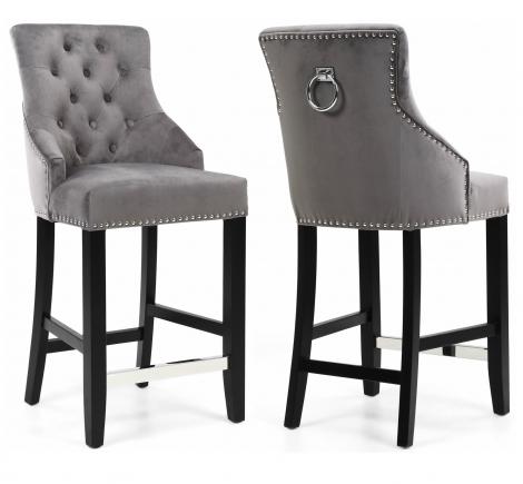 Mayfair, Brushed Grey Velvet Fabric, Bar Chair, Black Wooden Legs, Chrome Foot Rest