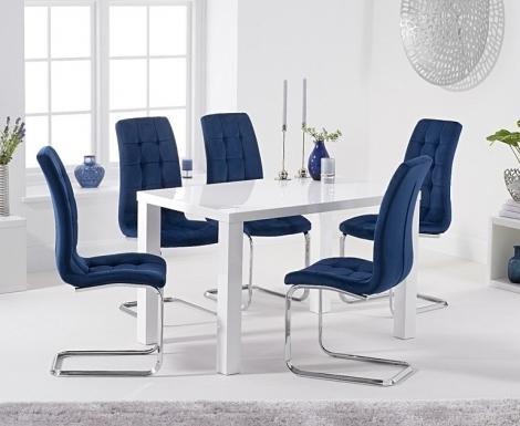 Ava 120cm White High Gloss Table & Lucca Velvet Chairs