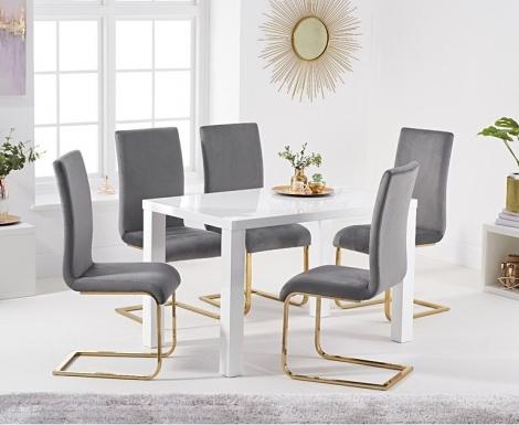 Ava 120cm White High Gloss Table & Malibu Velvet Chairs
