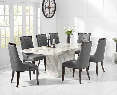 Caceres 220cm Marble Effect Dining Table With Aviva Chairs