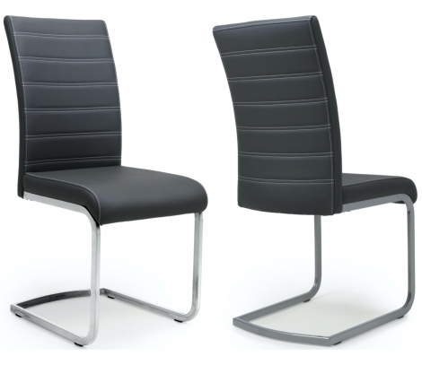2x Cancún, Black Leather Match & Grey Steel Dining Chairs (Pair)