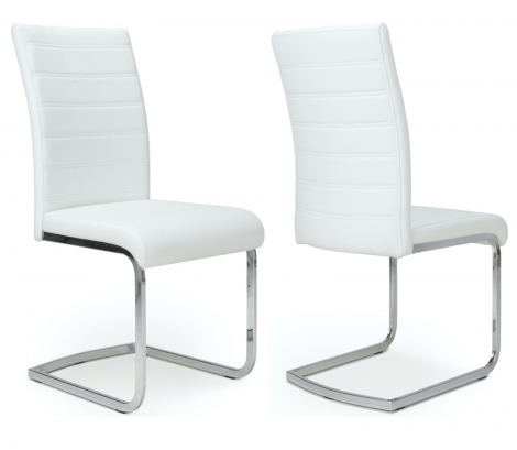 2x Cancún, White Leather Match & Grey Steel Dining Chairs (Pair)