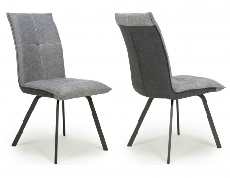 2x Aztec, Light Grey, Two Tone, Linen Effect Fabric Dining Chairs (Pair)