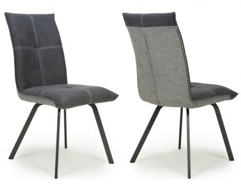2x Aztec, Dark Grey, Two Tone, Linen Effect Fabric Dining Chairs (Pair)
