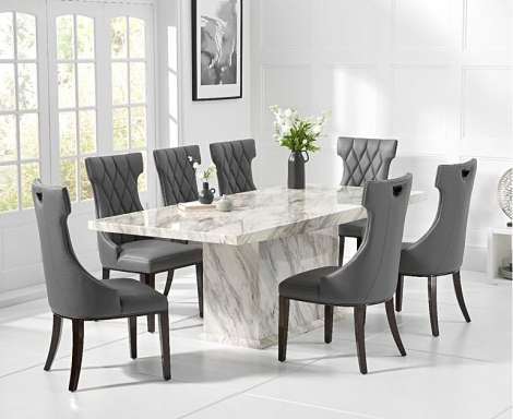Caceres 220cm Marble Effect Dining Table With Fredo Chairs