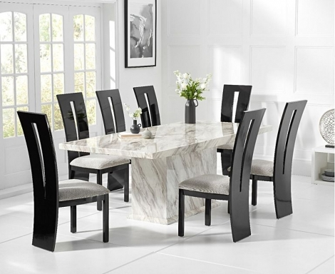 Caceres 220cm Marble Effect Dining Table With Valencie Chairs