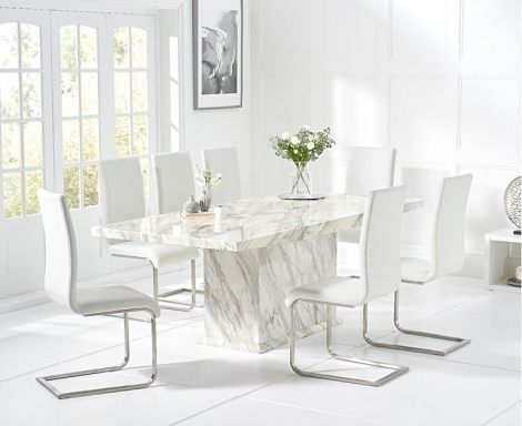 Caceres 220cm Marble Effect Dining Table With Malibu Chairs