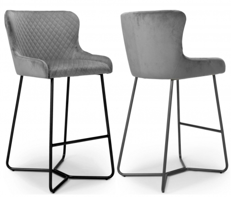 2x Gabriella Grey Velvet Bar Stool / Chair With Matt Black Steel Legs (Pair)