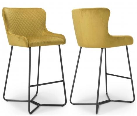 2x Gabriella Mustard Yellow Velvet Bar Stool / Chair With Matt Black Steel Legs (Pair)