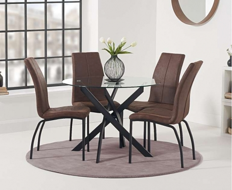 Marina 100cm Round Glass Top Dining Table & Nadia Brown Chairs