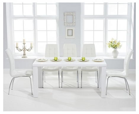Ava 160cm White High Gloss Dining Table with California Chairs