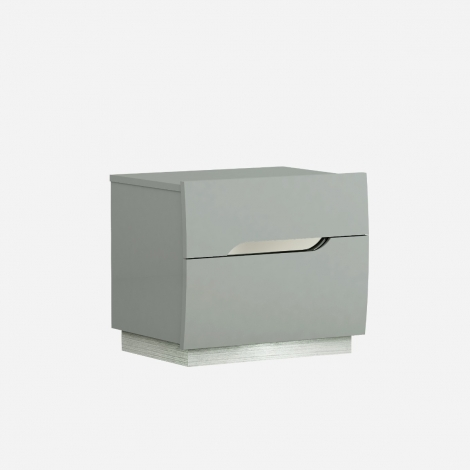 Lilly 2 Drawer Nightstand / Bedside Chest in Light Grey High Gloss