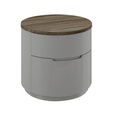 Azzurri Nightstand / Bedside Chest in Cashmere and Oak Gloss Wood