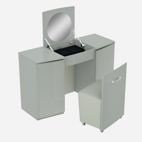 Arya / Lilly Vanity Unit / Dressing Table With Stool In Light Grey High Gloss