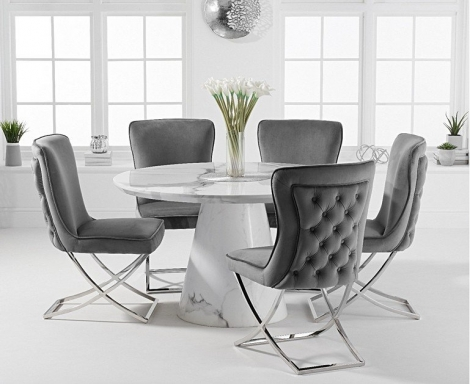 Ravelle Round White 130cm Marble Dining Table & Belgravia Button Back Chairs