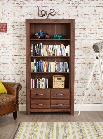 Macan Walnut Large 4 Drawer Bookcase