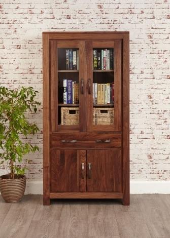 Macan Walnut Large Glazed Bookcase