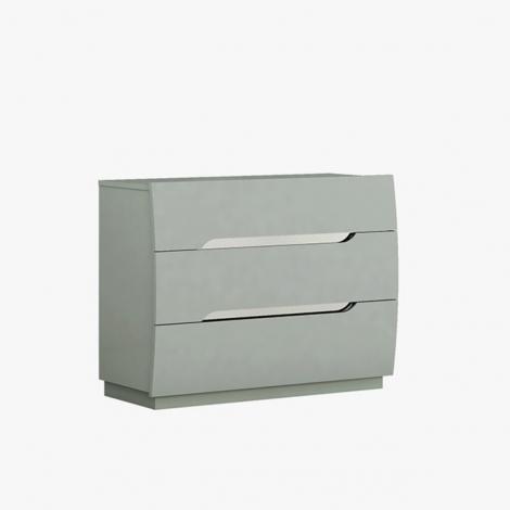 Lilly 3 Drawer Dresser in Light Grey High Gloss