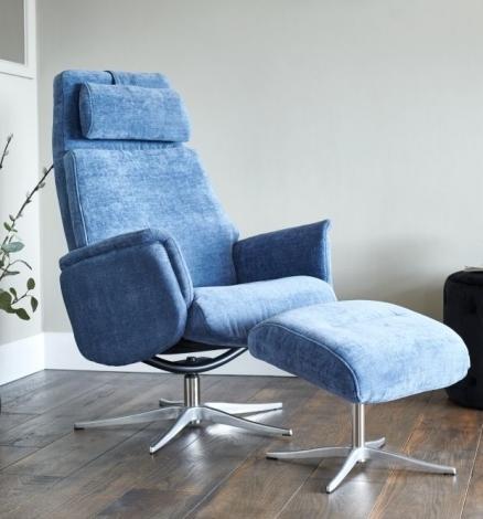 GFA, Albury, Blue Fabric, Swivel Recliner Chair & Stool
