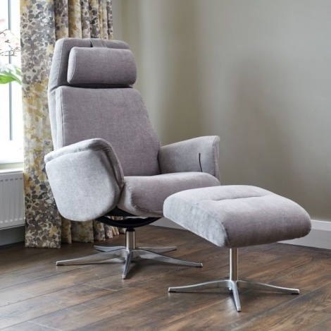 GFA, Albury, Grey / Stone Fabric, Swivel Recliner Chair & Stool