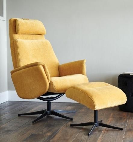 GFA, Albury, Yellow Fabric, Swivel Recliner Chair & Stool