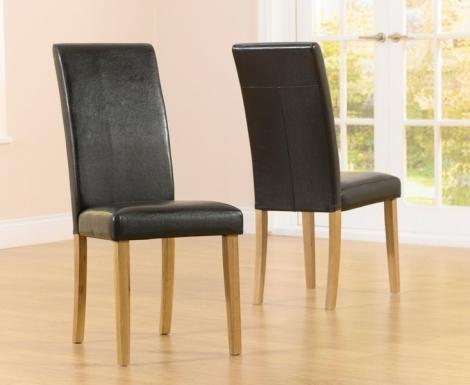 2x Atlanta Dining Chair - Black Faux Leather (Pair)
