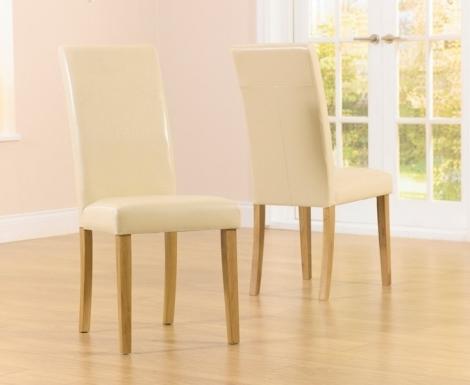2x Atlanta Dining Chair - Cream Faux Leather (Pair)