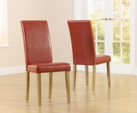 2x Atlanta Dining Chair - Red Faux Leather (Pair)