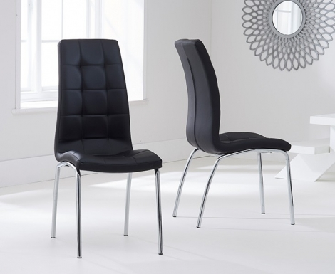 2x California Black Faux Leather Dining Chair (Pair)