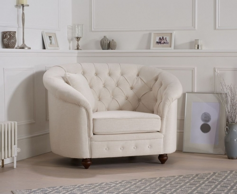 Casey Chesterfield Ivory Linen Fabric Armchair