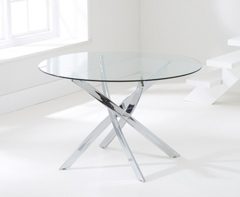 Daytona Round 110cm Glass Dining Table