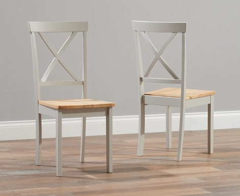 2x Elstree Oak and Grey Painted Wooden Dining Chairs Wooden Seat (Pair)
