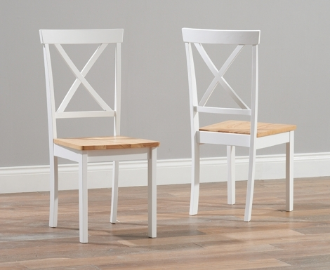 2x Elstree Oak and White Painted Dining Chairs Wooden Seat (Pair)