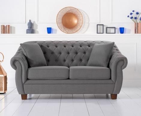 Liv Chesterfield Grey Linen Fabric 2 Seater Sofa