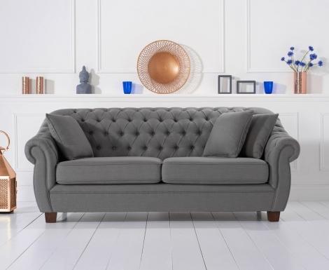 Liv Chesterfield Grey Linen Fabric 3 Seater Sofa