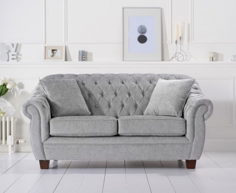 Liv Chesterfield Grey Plush Fabric 2 Seater Sofa