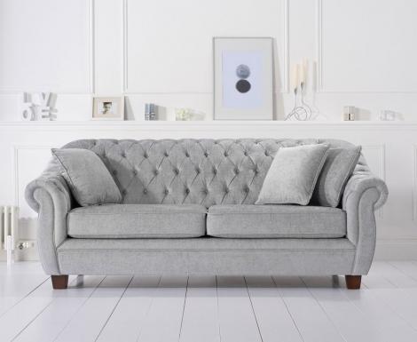 Liv Chesterfield Grey Plush Fabric 3 Seater Sofa