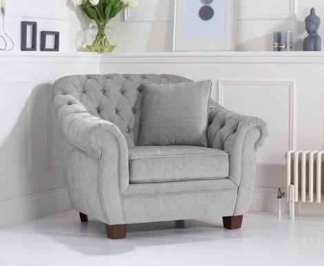 Liv Chesterfield Grey Plush Fabric Armchair